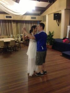 linda and brandon Practicing Bridal Waltz. Test driving the dress.